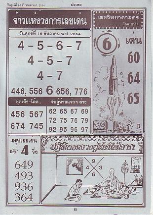 เลขมงคล 16 ธันวาคม 2554